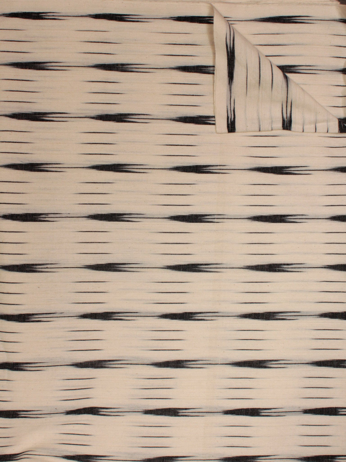 Ivory Black Pochampally Hand Weaved Ikat Fabric Per Meter - F002F812