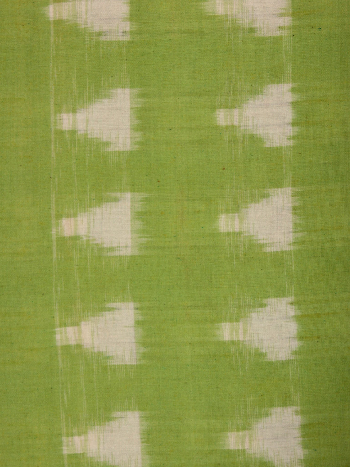 Chartreuse Green Ivory Pochampally Hand Weaved Double Ikat Traingular Fabric Per Meter - F002F826
