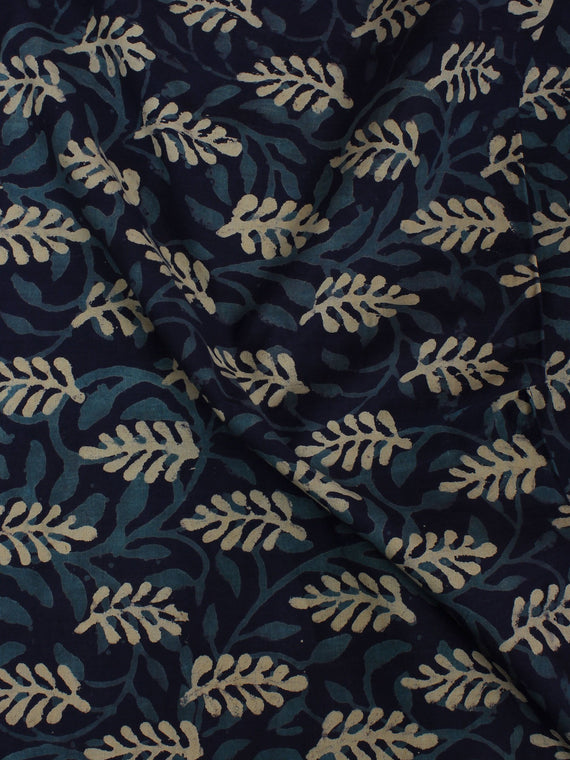 Indigo Blue Ivory Hand Block Printed Cotton Cambric Fabric Per Meter - F0916110