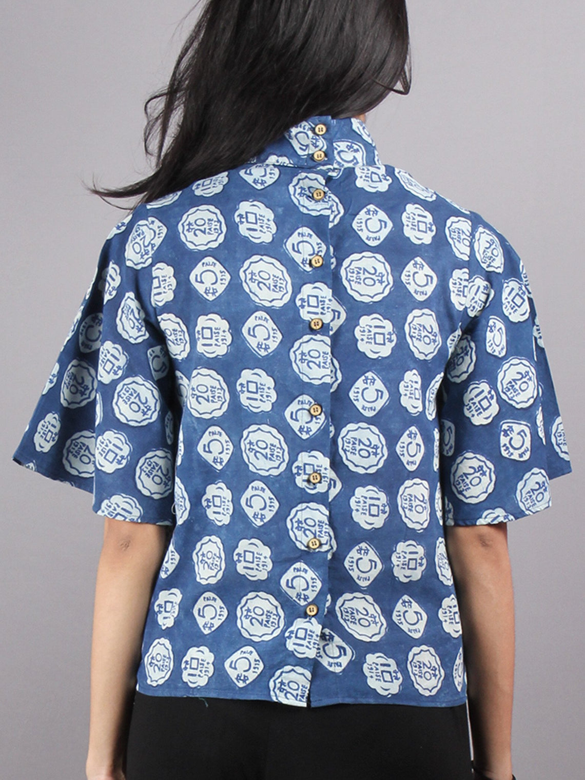 Indigo High Neck Hand Block Printed Cotton Flared Sleeves Back Buttons Top - T1164009