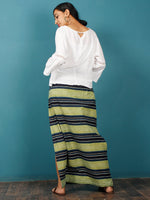 Light Green Black Indigo Shibori Hand Block Printed Straight Skirt With Side Slits - S40F686
