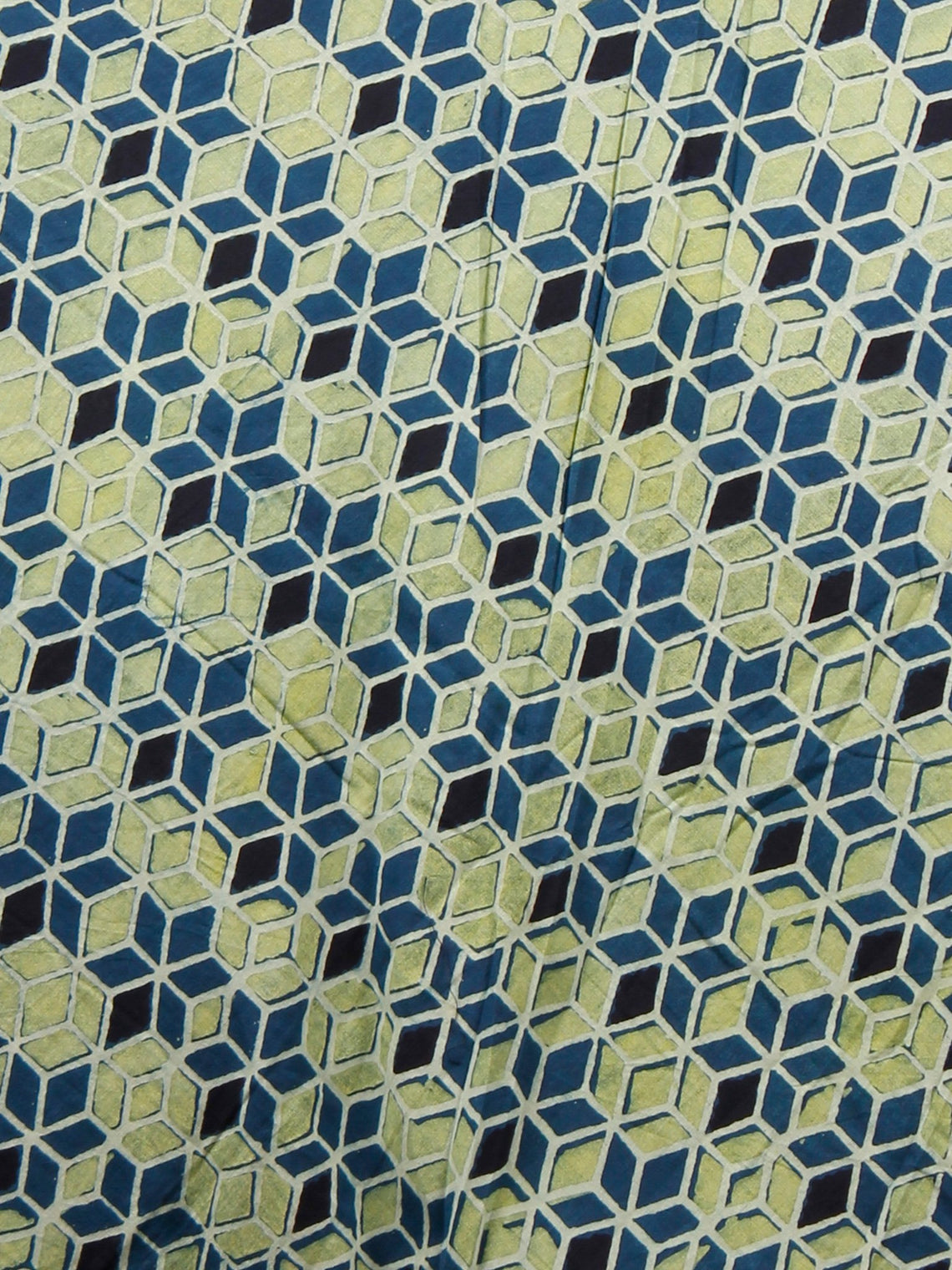 Indigo Green Black Hand Block Printed Skirt With Magenta Border  - S40F683