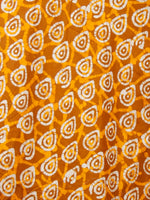 Peanut Brown Yellow White Hand Block Printed Skirt  - S40F343