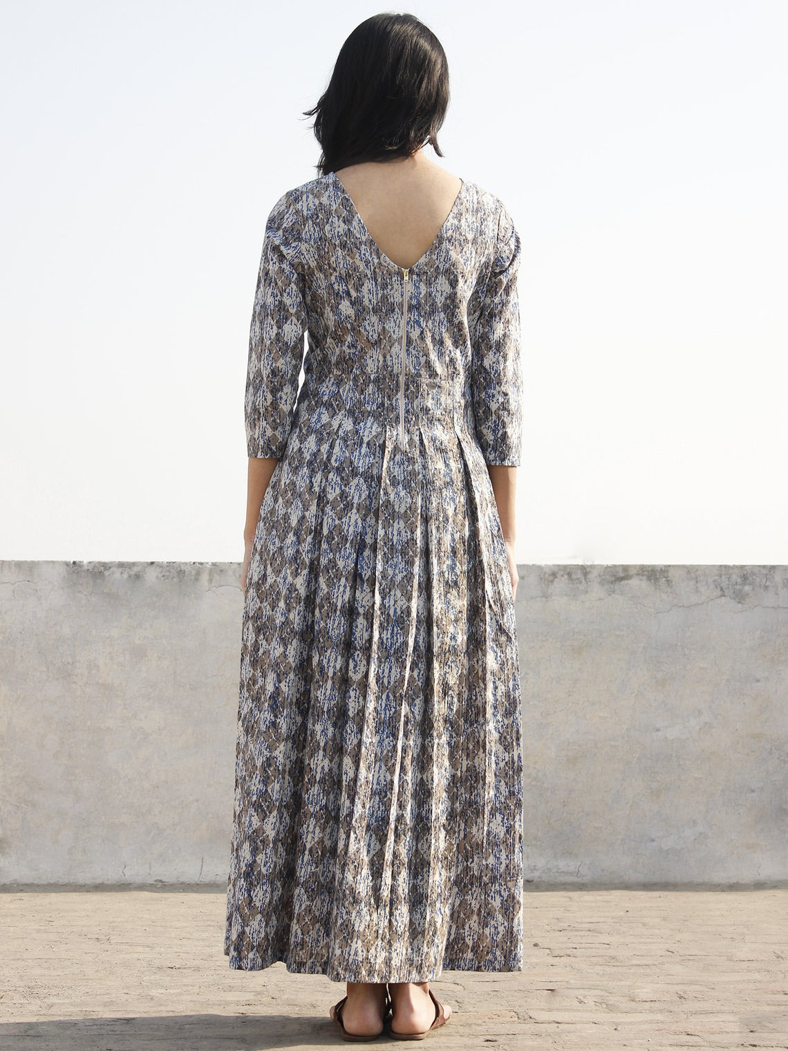 Grey Indigo White Long Hand Block Printed Cotton Dress With Box Pleats & Back Zipper  - D167F1111