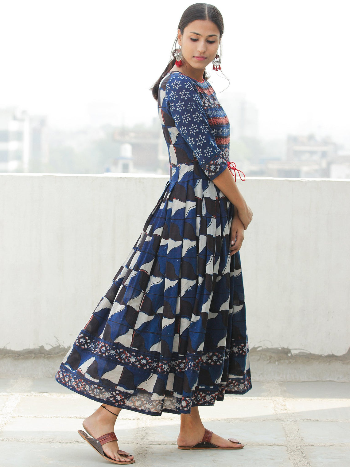 Mughal Splendour - Block Printed Cotton Dress With Embroidered Yoke - DS76F001