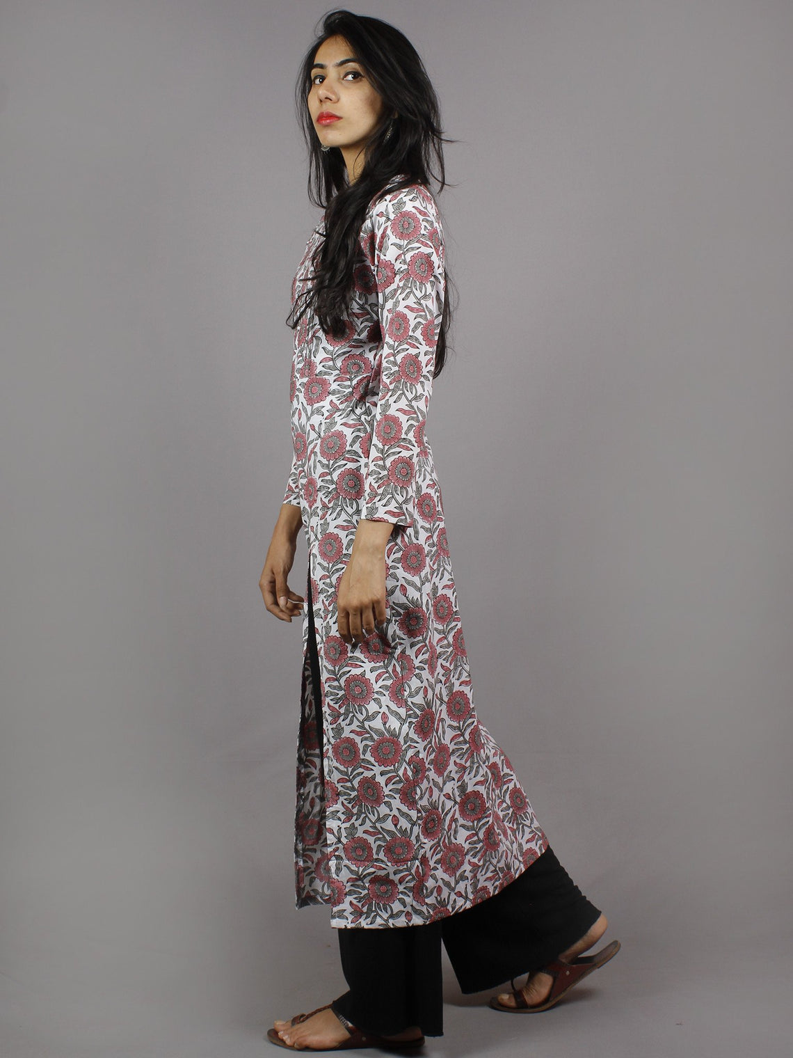 White Pink Grey Hand Block Printed Kurti With Empire Cut & Front Slit - K861601