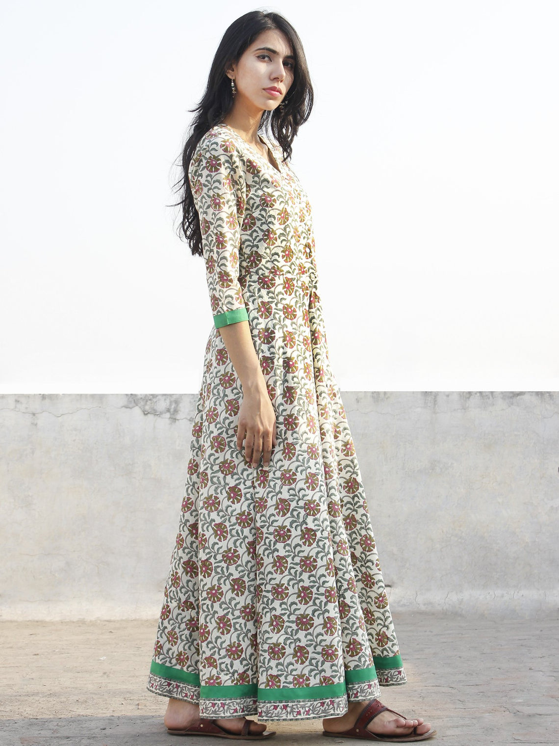 Ivory Pink Green Grey Long Front Open Hand Block Printed Cotton Dress With Lining - D149F1098