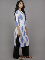 White Steel Blue Hand Block Printed Kurti With Side Slit & Stand Collar- K961801