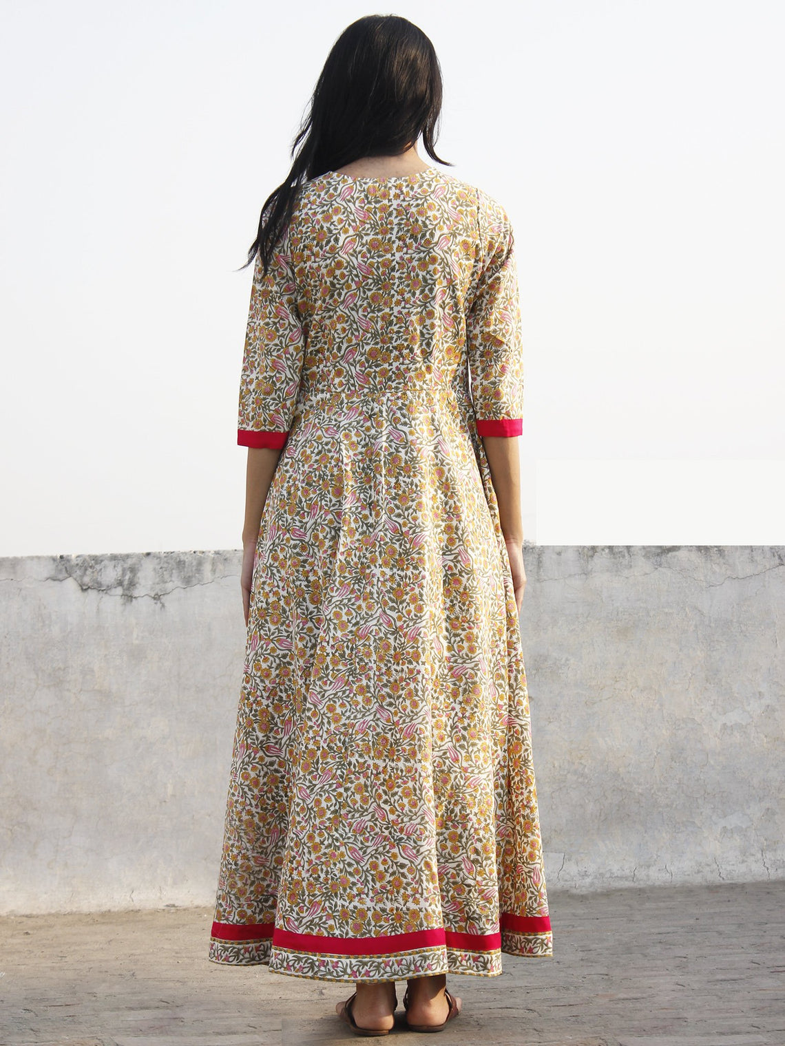 Ivory Mustard Pink Green Long Front Open Hand Block Cotton Dress With Lining - D149F1090