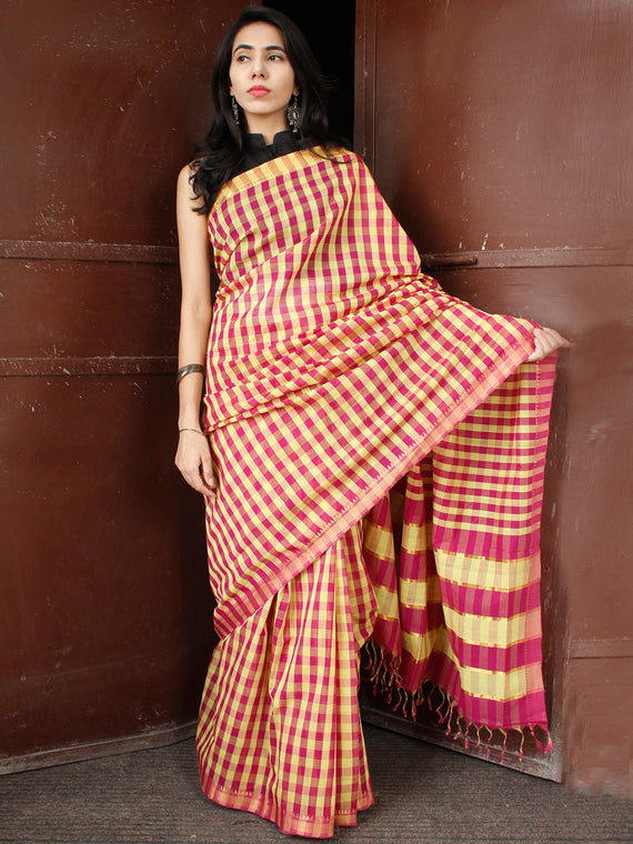 Pink Yellow Handloom Mangalagiri Cotton Saree With Zari Border - S031703684
