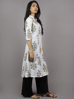 White Grey Blue Yellow Hand Block Printed Kurti With Princess Line & Stand Collar- K962001