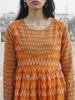 Orange Yellow Ivory Hand Woven Mercerized Cotton Ikat Tier Dress - D135F837