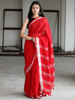 Red Silver Handwoven Linen Saree With Zari Border - S031703741
