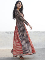 Black Brick Red Ivory Hand Block Printed Long Dress With Box Pleats - D171F1145