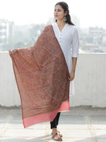 Brown Rust Coral Pure Cashmere Wool Jamavar Stole - S200558