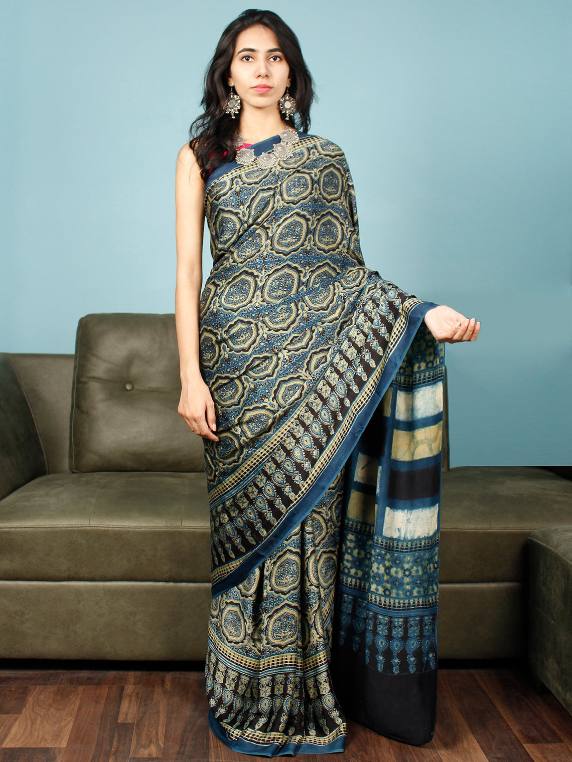 Indigo Black Fern Green Ajrakh Hand Block Printed Modal Silk Saree in Natural Colors - S031703352