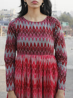 Red Maroon Pink Grey Hand Woven Mercerized Cotton Ikat Tier Dress - D172F835