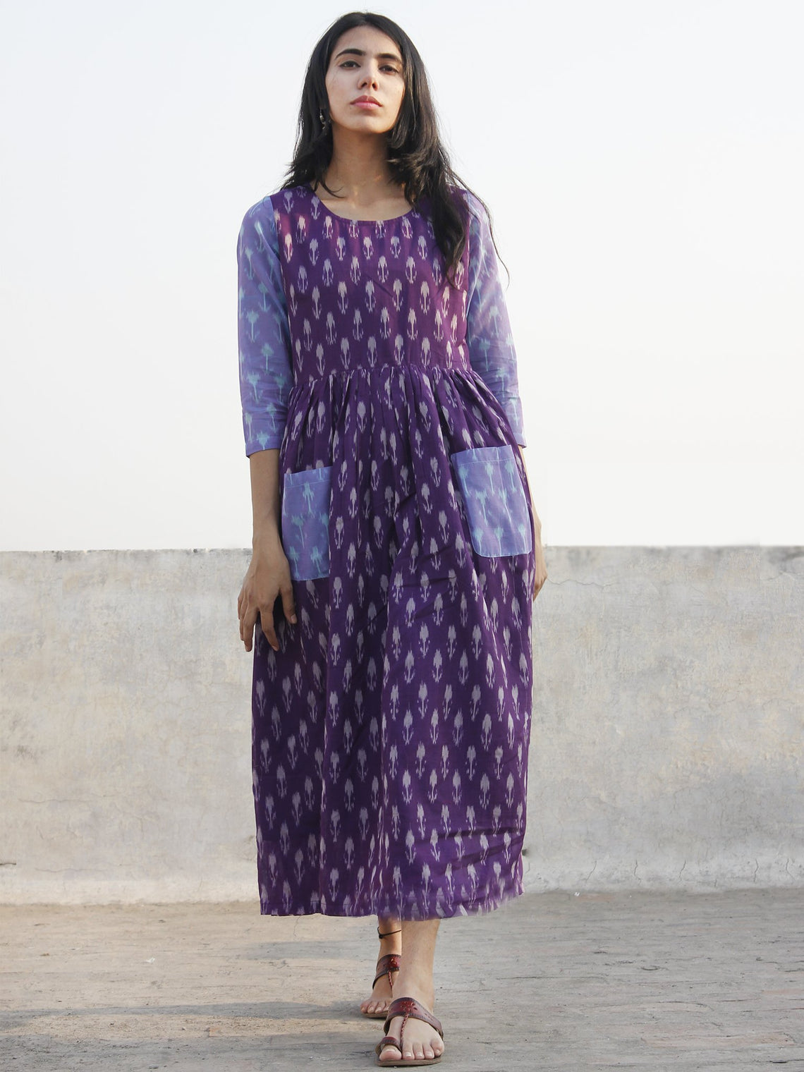 Purple Ivory Blue Hand Woven Mercerized Cotton Ikat Dress With Pockets - D173F1032