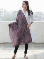 Plum Grey Black Pure Cashmere Wool Jamavar Stole - S200560
