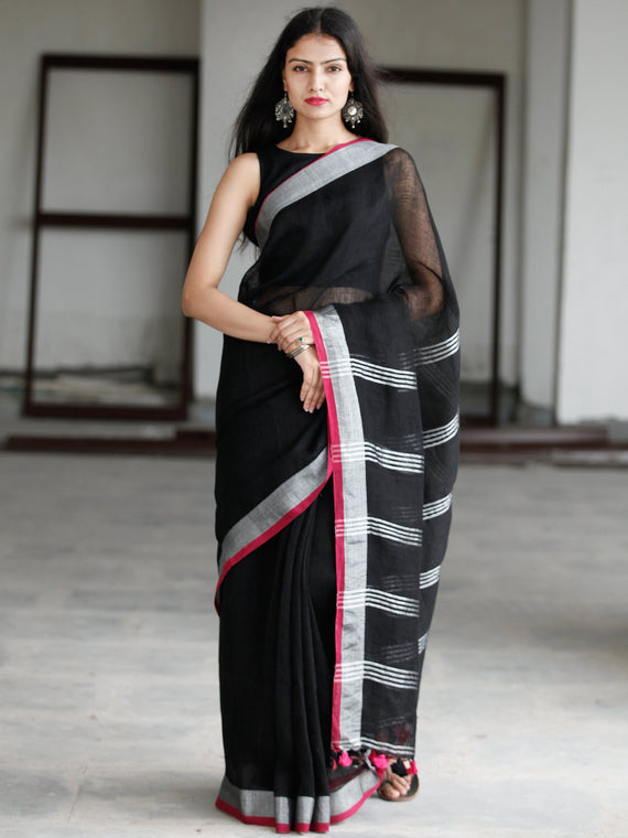 Black Silver Handwoven Linen Saree With Zari Border - S031703744