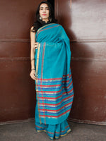 Turquoise Blue Maroon Handloom Mangalagiri Cotton Saree With Zari Border - S031703683