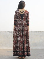 Brown Ivory Grey Black Hand Block Printed Cotton Long Dress With Back Details - D136F1136