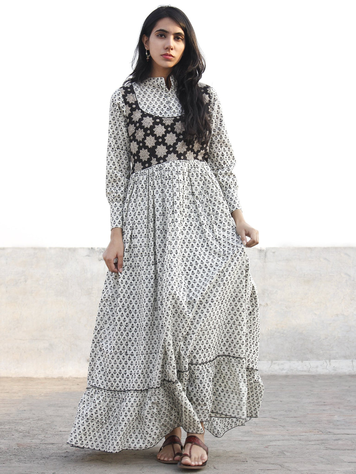 Ivory Black Grey Hand Block Printed Cotton Long Dress With Stand Collar  - D174F1058