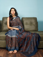 Indigo Ivory Maroon Ajrakh Hand Block Printed Modal Silk Saree in Natural Colors - S031703354