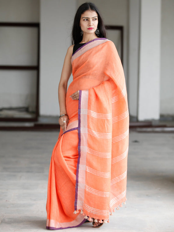 Orange Silver Purple Handwoven Linen Saree With Zari Border - S031703745