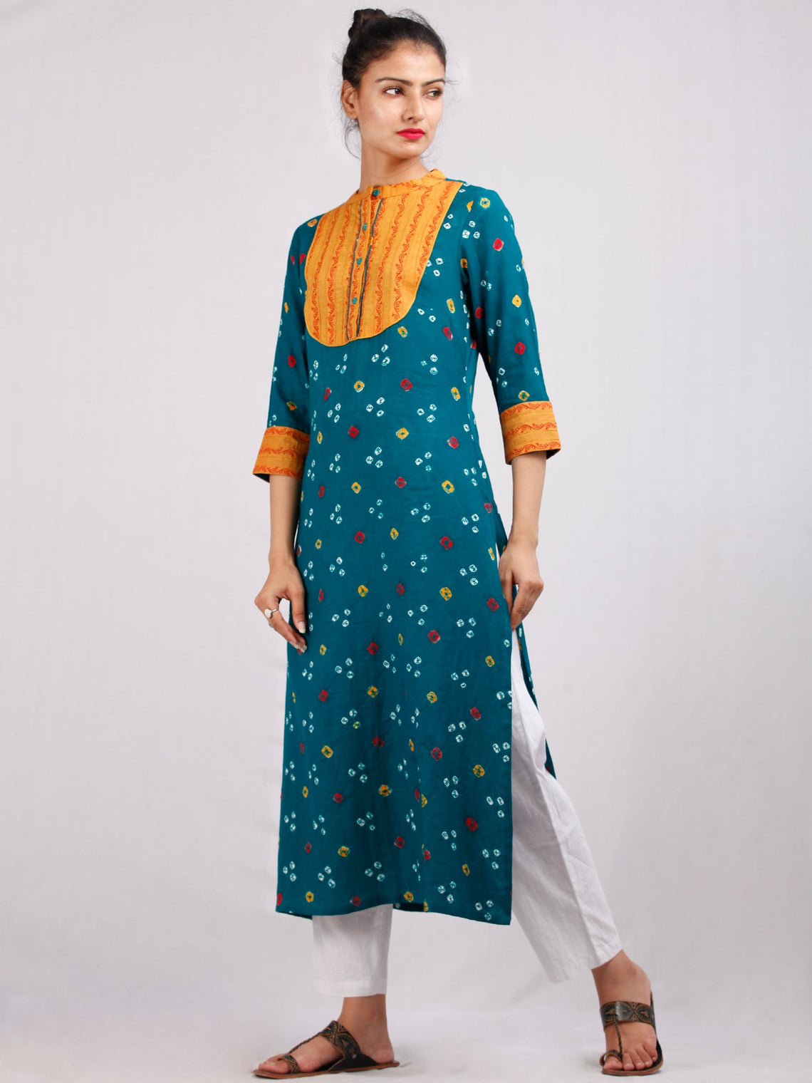 Dark Green Mustard Yellow Bandhani  Printed Glace Cotton Kurta  - K180F1850