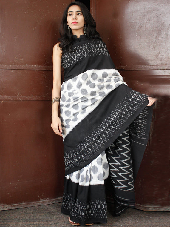Black White Grey Double Ikat Handwoven Cotton Saree - S031703654