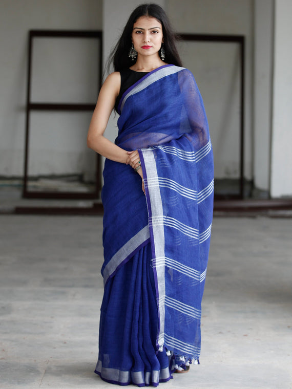 Royal Blue Silver Handwoven Linen Saree With Zari Border - S031703747