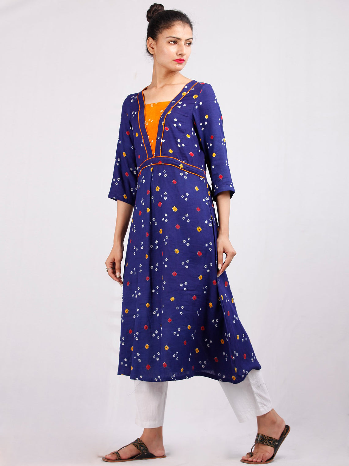 Purple Mustard Yellow Bandhani  Printed Glace Cotton Kurta  - K181F1847