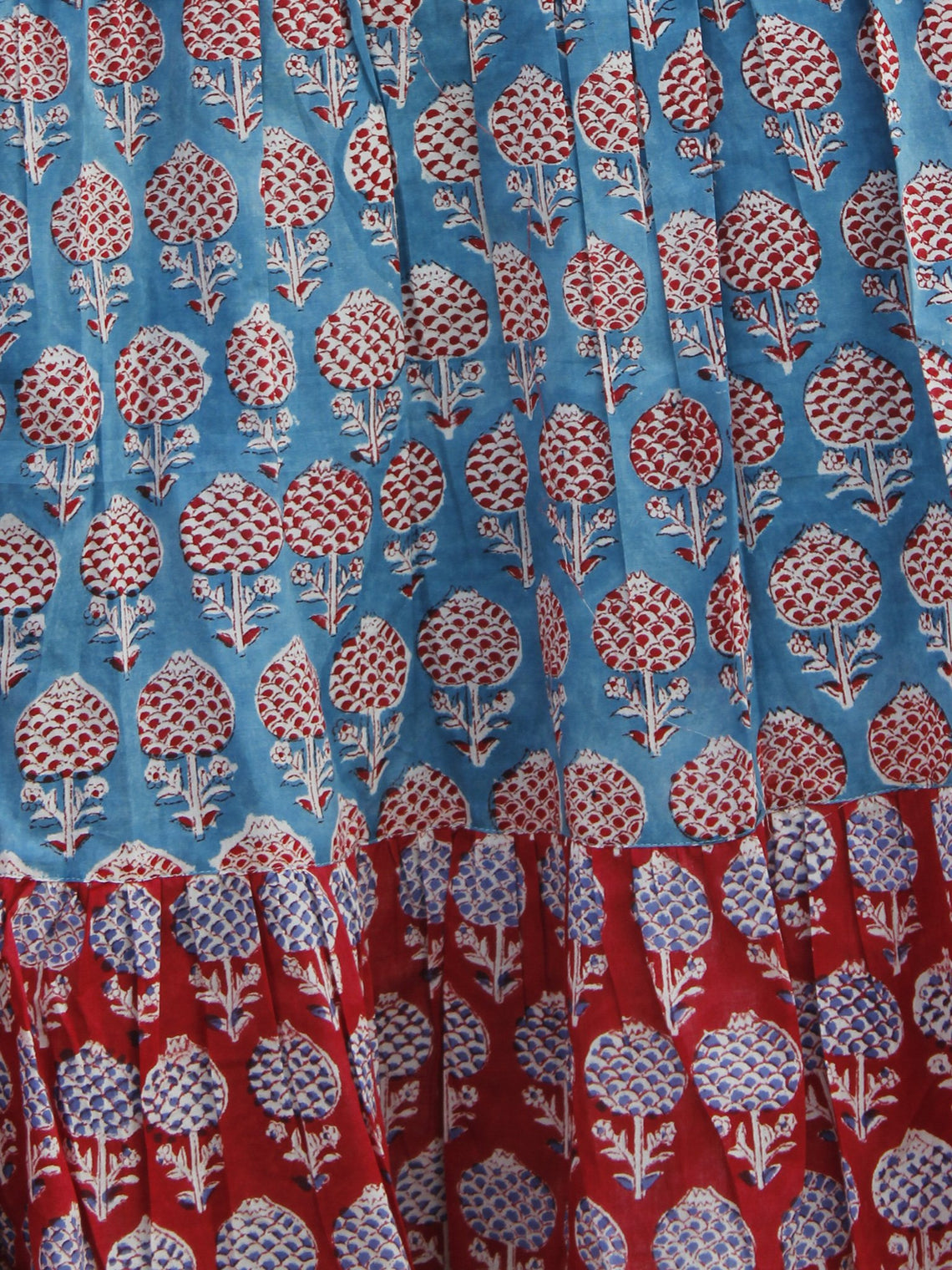 Red Blue Ivory Hand Block Printed Long Cotton Tier Dress -  D172F543