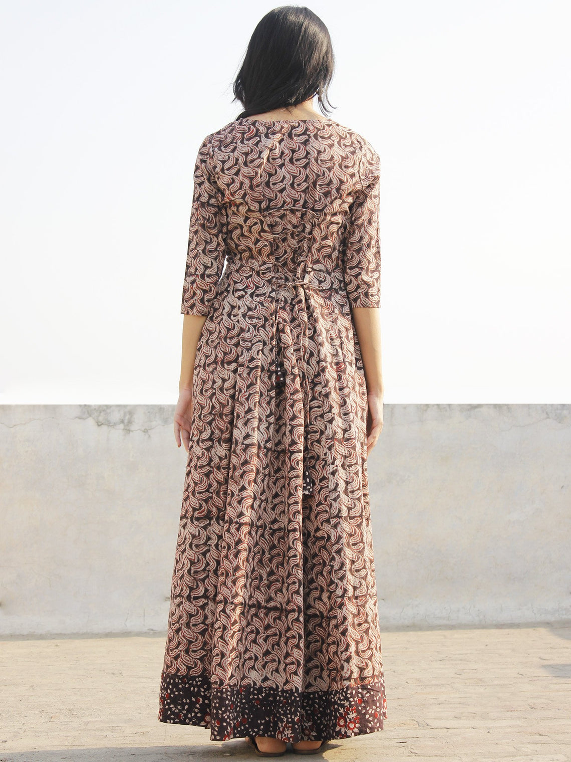 Brown Maroon Beige Hand Block Printed Long Tie-Up Back Waist Dress - D162F1155
