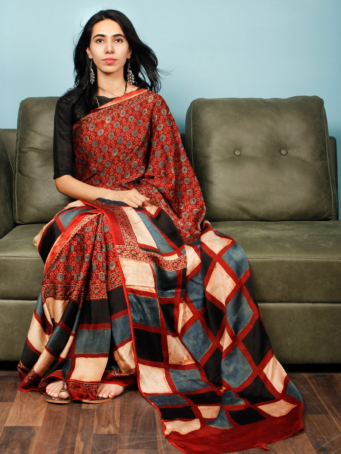 Red Indigo Ivory Black Ajrakh Hand Block Printed Modal Silk Saree in Natural Colors - S031703357