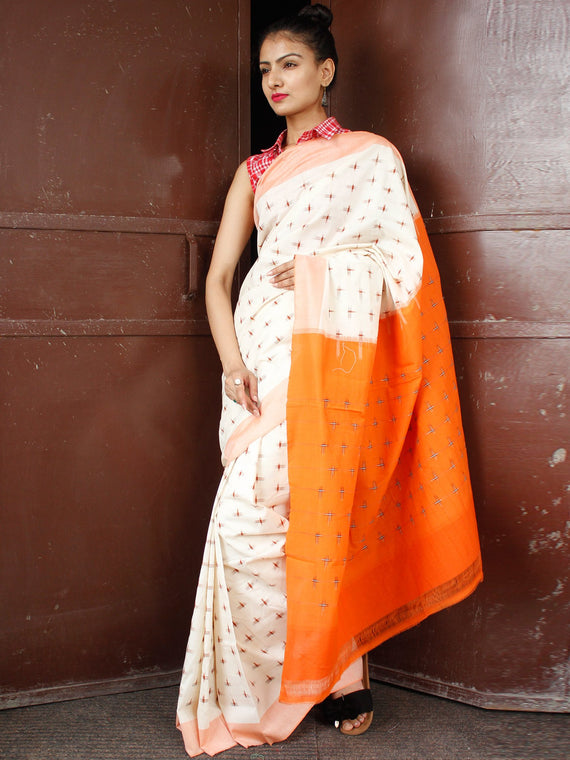Off White Orange Peach Double Ikat Handwoven Cotton Saree - S031703655