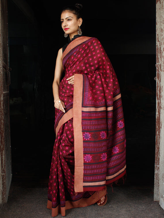 Maroon Pink Blue Chanderi Silk Hand Block Printed Saree With Geecha Border - S031703600