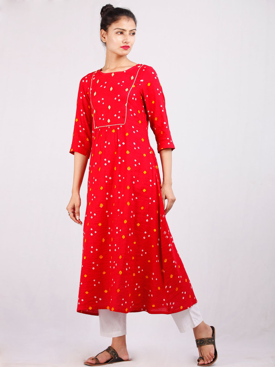 Red Mustard White Bandhani  Printed Glace Cotton Kurta With Gotta Work  - K182F1851