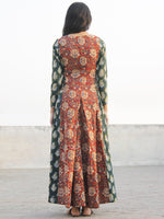 Red Green Mustard Hand Block Printed Cotton  Waist Tie Up Dress -  D176F1144
