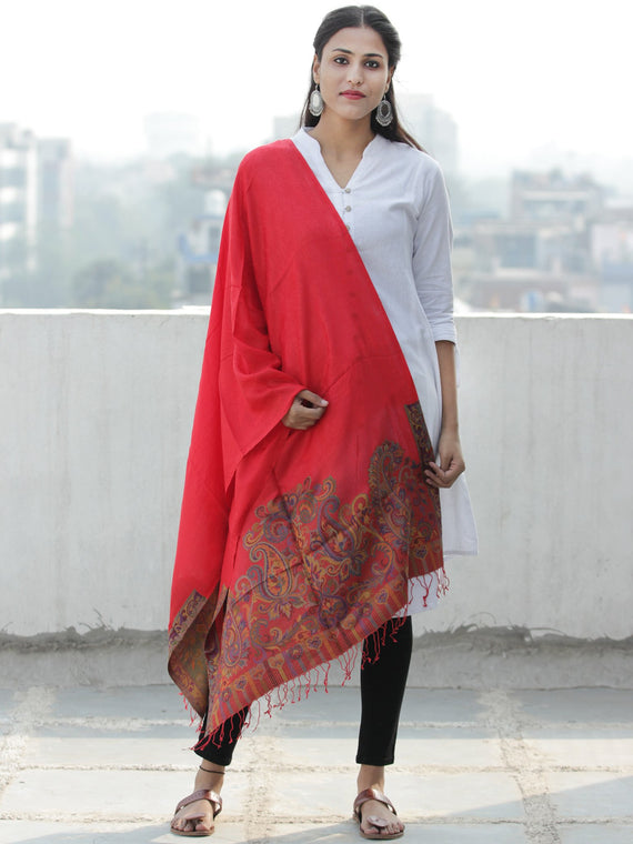 Red Multi Color Paisly Weaved Border Silk Wool Kashmiri Stole - S200567