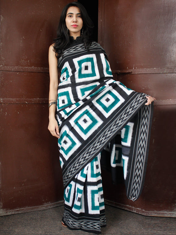 Teal Green Black White Double Ikat Handwoven Cotton Saree - S031703656