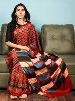 Red Indigo Ivory Black Ajrakh Hand Block Printed Modal Silk Saree in Natural Colors - S031703358