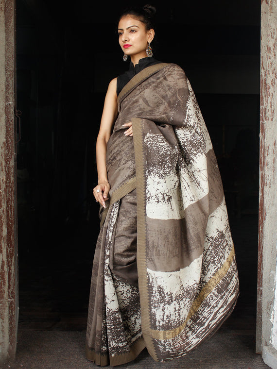 Kashish Ivory Chanderi Silk Hand Block Printed Saree With Geecha Border - S031703602