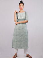 Moss Green White Hand Block Printed Cotton Kurta & Pants - K179F1911