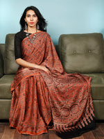 Rust Indigo Black Ajrakh Hand Block Printed Modal Silk Saree in Natural Colors - S031703360