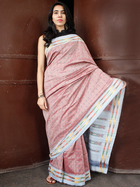 Peach Sky Blue Multi Color Double Ikat Handwoven Cotton Saree - S031703658