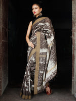 Kashish White Chanderi Silk Hand Painted Saree With Geecha Border - S031703604