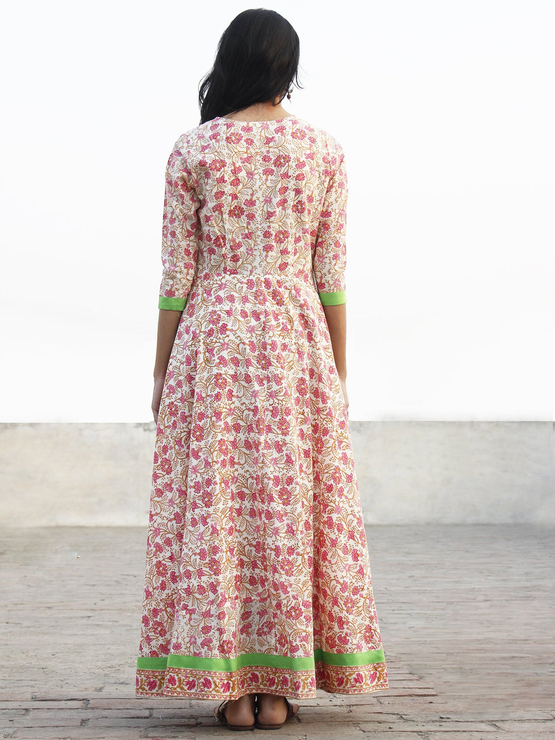 Pink Ivory Mustard Green Long Front Open Hand Block Printed Cotton Dress With Lining - D149F1097