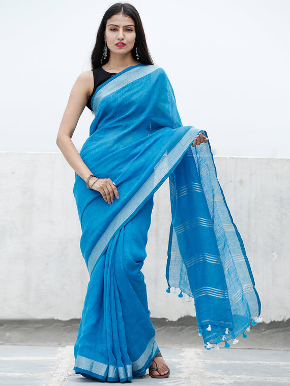 Deep Sky Blue Silver Handwoven Linen Saree With Zari Border & Tassels - S031703753